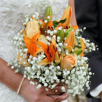 Oriental Lily-Peach Rose Bride's Bouquet
